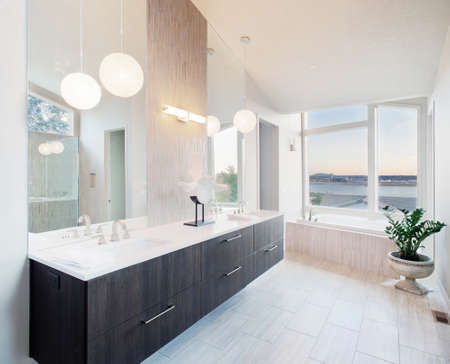 counters: master bathroom in newly constructed luxury home