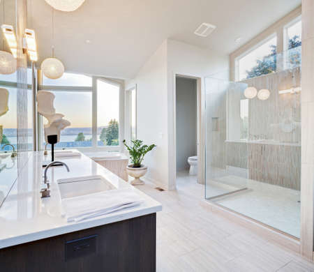 bathroom interior: master bathroom in newly constructed luxury home