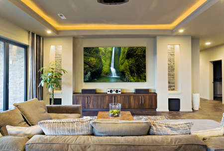 residential homes: home entertainment room and living room in luxury home
