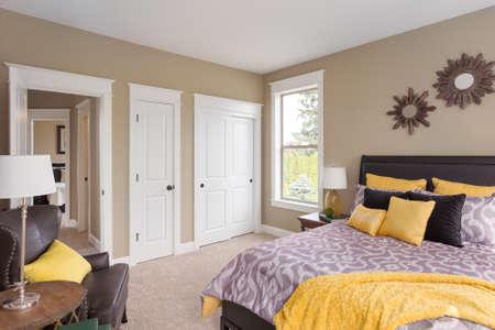 furnished: Furnished master bedroom interior in new home