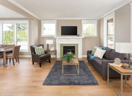 새 집에서 나무 바닥과 벽난로가있는 아름다운 거실 인테리어
