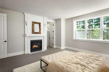 master bedroom: Furnished master bedroom interior in new home