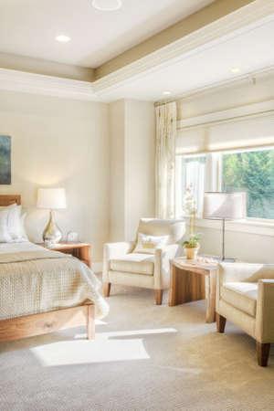 Master Bedroom Detail in New Luxury Home Banco de Imagens
