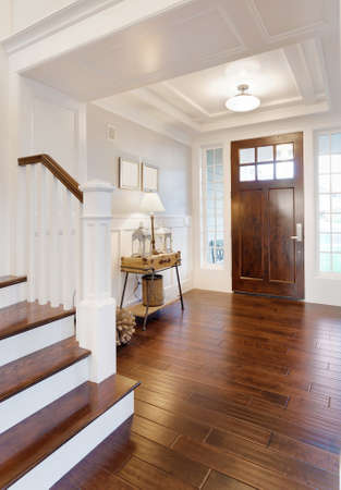 hardwood: Foyer and entry in new luxury home