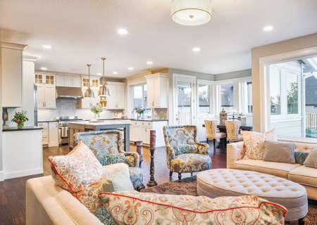 Furnished living Room in Luxury Home with View of Kitchen