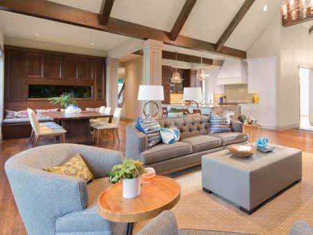 Furnished living Room in Luxury Home Banco de Imagens