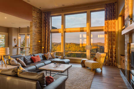 Beautiful living room with hardwood floors and amazing view