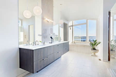 beautiful master bathroom in new luxury home with double vanity and window view
