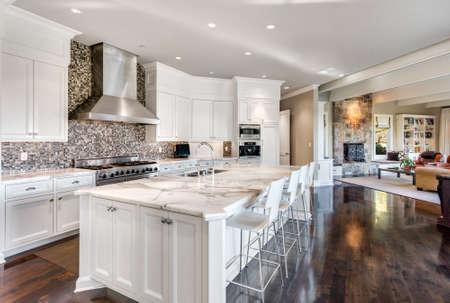 Bella grande cucina in una nuova casa di lusso. Dispone di armadietto bianco, ripiani e elementi in legno. Archivio Fotografico