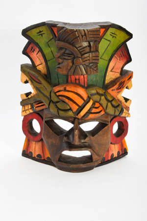 Indian Mayan Aztec wooden mask with anaconda and jaguar isolated on white background Stok Fotoğraf