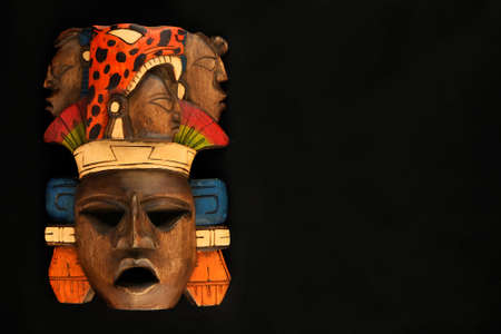 indian mayan aztec wooden carved painted mask with roaring jaguar