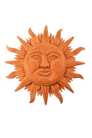 cultura maya: Mexicano cultura maya madera s�mbolo placa tradicional sol tallado aislado en blanco