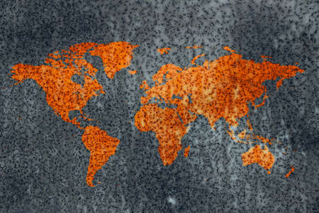 actual: World decay, world map corrosion stained rusty metal surface out of cold neutral grey background