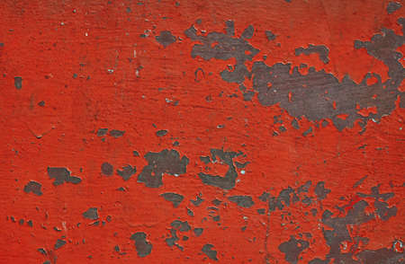 oxidation: Red stained corroded rusty painted vintage old metal surface with flakes and scratches Stock Photo