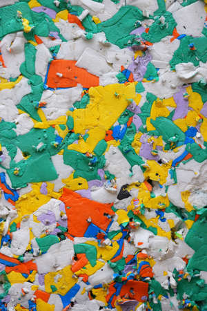 utilized: Multicolor pressed polystyrene recycled panel of different pieces utilized for construction and packaging