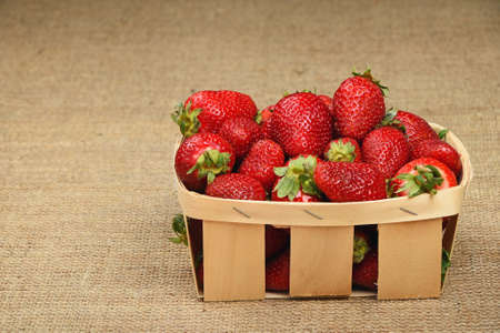 mellow: Wicker wooden basket full of mellow fresh red summer strawberries on jute burlap canvas background, side view Stock Photo