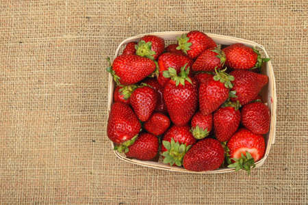 mellow: Wicker wooden basket full of mellow fresh red summer strawberries on jute burlap canvas background, top view Stock Photo