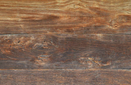 unpainted: Old brown grunge vintage wooden panel texture background with horizontal unpainted aged planks, cracks and stains
