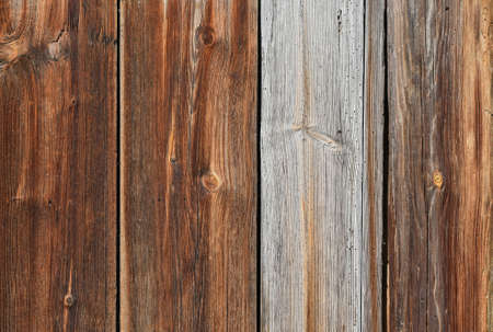 unpainted: Old brown vintage wooden panel texture background of vertical unpainted aged planks with knots and stains