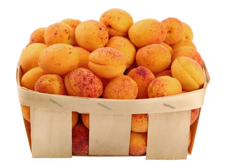 mellow: Fresh ripe mellow apricots in wooden wicker basket crate isolated on white background, close up