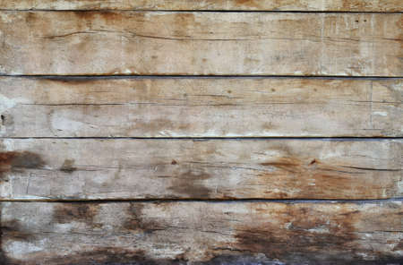 unpainted: Old grunge vintage brown wooden panel texture background with horizontal unpainted aged planks, cracks, stains and gaps