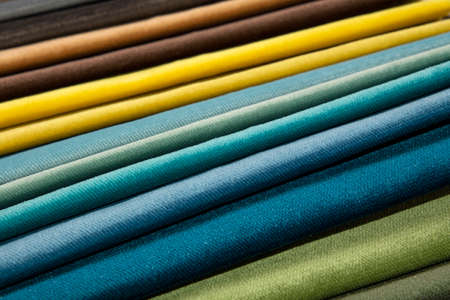 gamma tone: Colorful multicolored fabric samples swatch in textile catalogue palette, selection of different colors and textures range to choose for interior design and furniture decoration