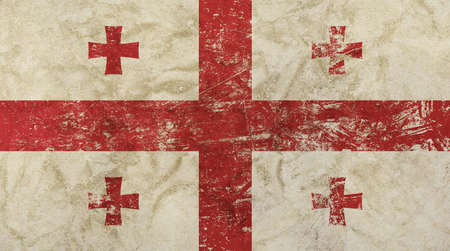former: Old grunge vintage dirty faded shabby distressed Georgia or Georgian republic national flag background