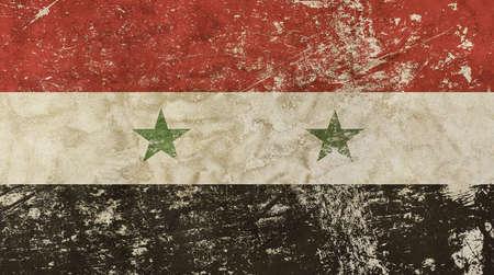 Old grunge vintage dirty faded shabby distressed Syria or Syrian Arab Republic flag background