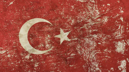 Old grunge vintage dirty faded shabby distressed Turkish or Republic of Turkey flag background