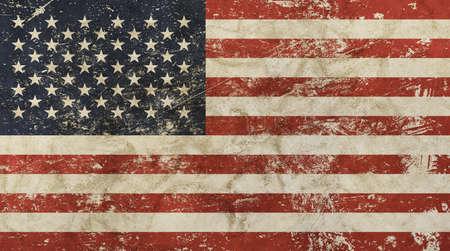 古いグランジ ビンテージ汚れた色あせたよれよれの苦しめられたアメリカ米国国旗背景 写真素材