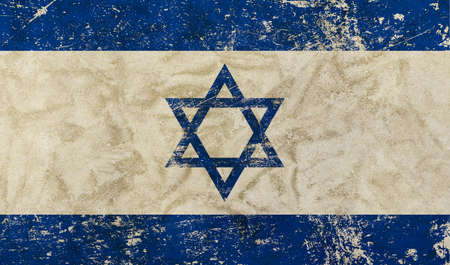 judah: Old grunge vintage dirty faded shabby distressed Israel flag of white background with blue Star of Judah (Magen David) Stock Photo
