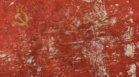 socialism: Old grunge vintage dirty faded shabby distressed former USSR Soviet Union national red flag background with star, hammer and sickle Stock Photo