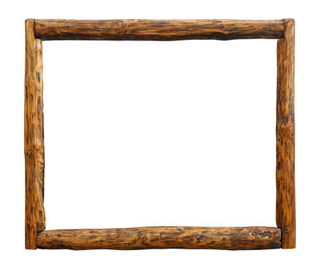 Old vintage wooden pine grunge brown aged rustic log border frame, isolated on white