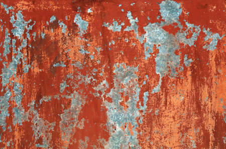 faded: Grunge red and brown old painted wall background texture with stains of faded paint peel and scaling