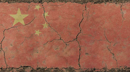 Old grunge vintage dirty faded shabby distressed China or Chinese republic flag background on broken concrete wall with cracks