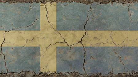 Old grunge vintage dirty faded shabby distressed Swedish (Kingdom of Sweden) national flag with yellow cross on blue background on broken concrete wall with cracks Stock Photo