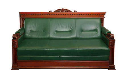 Green leather retro classic style coach sofa with brown wooden frame isolated on white, close up, low angle front view