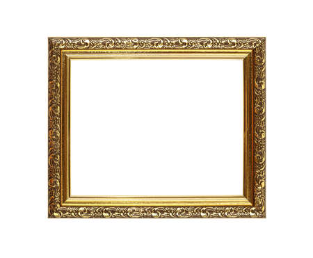 picture framing: Antique old baroque ornate wooden classic golden painted horizontal rectangular frame for picture or photo, isolated on white background, close up