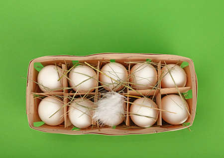 Ten fresh white farm chicken eggs in wooden container box with hay and feather over green background, elevated top view, directly above Фото со стока