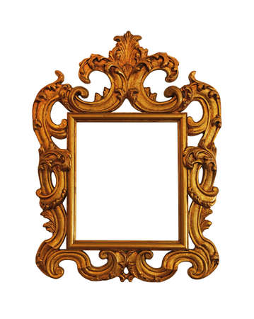 picture framing: Antique old baroque ornate wooden classic golden painted rectangular frame for picture, photo or mirror, isolated on white background, close up Stock Photo