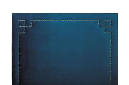 Dark navy blue soft velvet bed headboard isolated on white background, front view