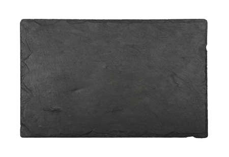 Close up of rectangle shape big black slate stone cutting board isolated on white background
