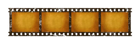 Close up four frames of old vintage grunge retro styled classical 35 mm film strip isolated on white background