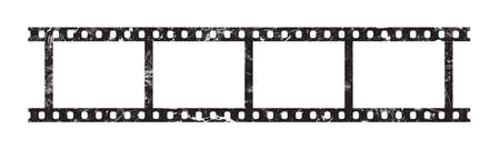 Close up six frames of classical 35 mm film strip isolated on white background