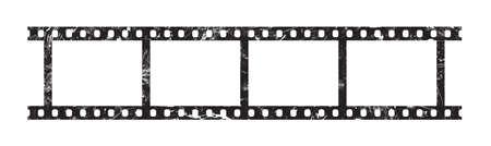 Schließen Sie herauf sechs Felder des klassischen 35 Millimeter-Filmstreifens, der auf weißem Hintergrund getrennt wird