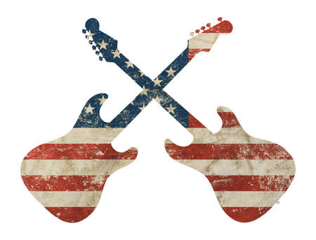 Two crossed guitars shaped old grunge vintage dirty faded shabby distressed American US national flag isolated on white background 스톡 콘텐츠