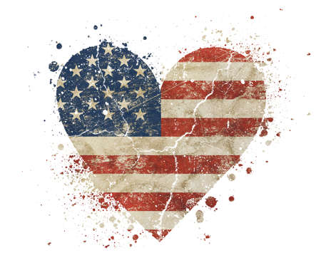 Heart shaped old grunge vintage dirty faded shabby distressed American US national flag with bang splash isolated on white background
