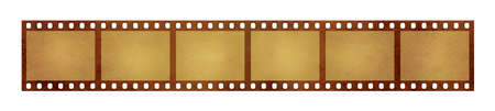 Close up six frames of old vintage grunge retro styled classical 35 mm film strip isolated on white background Stock Photo