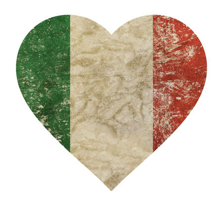 Heart shaped old grunge vintage dirty faded shabby distressed Italy national flag isolated on white background 版權商用圖片