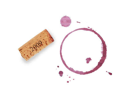 One red wine cork and dry circle ring stain of glass or bottle and blob drops isolated on white background Stock Photo